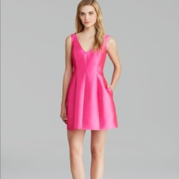 Kate Spade pink silk fit flare cocktail dress 4